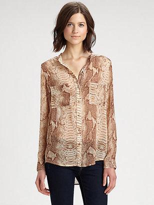 Patterson J. Kincaid PJK Viper-Print Cutout Shirt