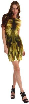 McQ by Alexander McQueen Cap Sleeve Dress (Beige/Green/Brown) - Apparel
