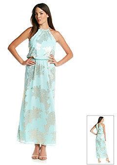 MSK Goldtone Blouson Maxi Dress - Mint