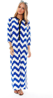 T-Bags Valeria Chevron Print Maxi Dress - by T Bags