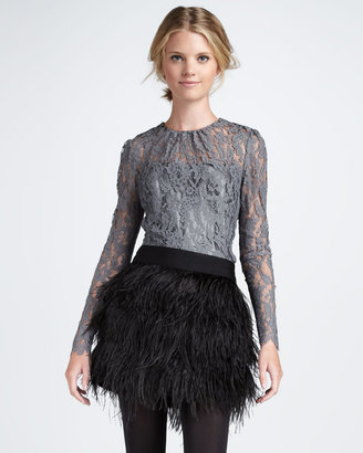 Milly Ostrich-Feather Miniskirt