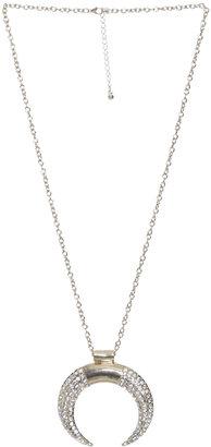 Arden B Rhinestone Half Moon Necklace