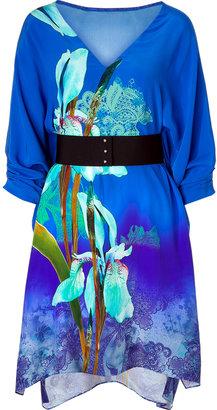 Matthew Williamson Royal blue silk belted kimono dress