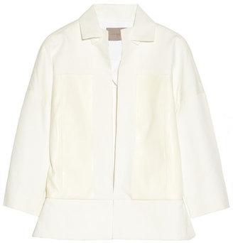 Halston Leather-paneled cotton-canvas jacket