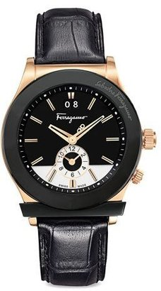 Salvatore Ferragamo Croc-Embossed Two-Tone Watch, Black $1,395 thestylecure.com