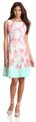 Nine West Dresses Women's Printed Fit And Flare Dress