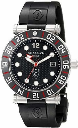 Charriol Men's RT42GMTB142G01 Rotonde Analog Display Swiss Quartz Black Watch