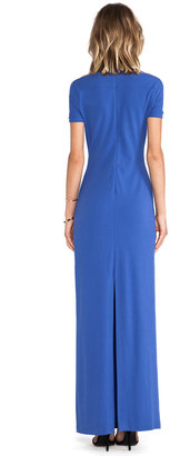 Halston Short Sleeve Gown With Shoulder Cut