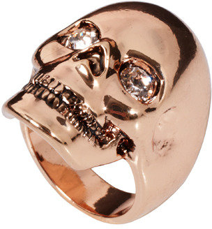 Wildfox Couture Rose Gold Skull Ring with Swarovski