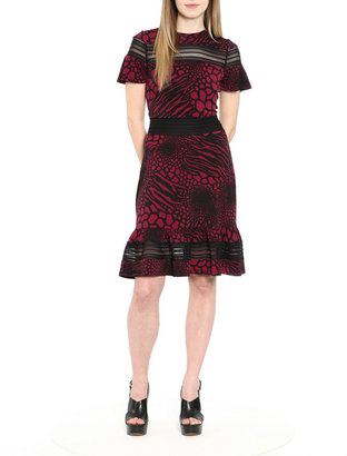 MICHAEL Michael Kors Animal Print Mesh Inset Matte Jersey Flounce Dress