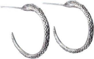 Pamela Love Silver Serpent Hoop Earrings.