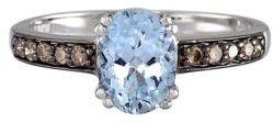 EFFY 14 Kt. White Gold Aqua and Diamond Ring, 0.17 CT. T.W.