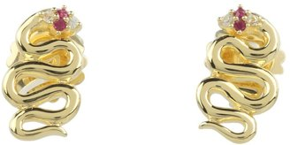 Elizabeth and James Meadowlark Snake Stud Earring with White Sapphire Ruby (Yellow Gold Plated) - Jewelry