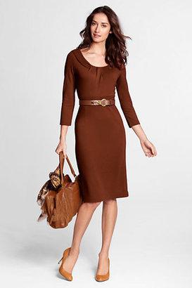 Lands' End Women's Regular 3/4-sleeve Pleat Front Drapey Ponté Sheath Dress