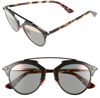 Women's Dior So Real 48Mm Brow Bar Sunglasses - Black/ Spotty Tortoise $560 thestylecure.com