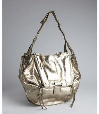 Kooba metallic green-gold pebbled leather foldover dual zip 'Zoey' shoulder bag