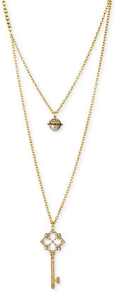 GUESS Gold-Tone Simulated Pearl and Pave Crystal Key Two-Row Pendant Necklace
