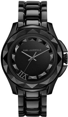 Karl Lagerfeld Unisex Black Ion-Plated Stainless Steel Bracelet Watch 44mm KL1001