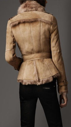 Burberry Belted Shearling Jacket