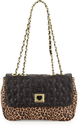 Betsey Johnson Be My Wonderful Pebbled Quilted Faux-Leather Shoulder Bag, Leopard/Black