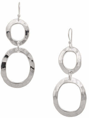 HBC SERPENTINA SILVER Silver Plate Designs Hammered Double Oval Drop Earrings