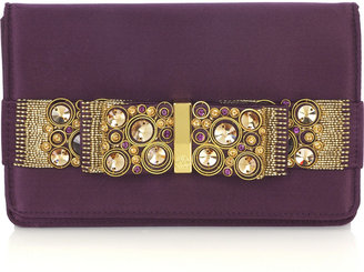 Roberto Cavalli Jeweled bow clutch