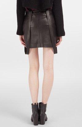 Maje 'Decrue' Suspender Leather Miniskirt