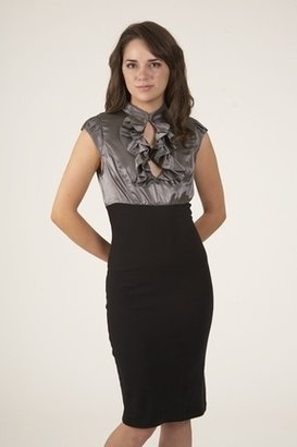 Nu Collective High Waist Pencil Dress in Metal/Black $241 thestylecure.com