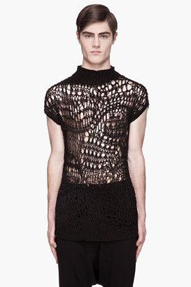 Rick Owens Black open-knit Psyco top