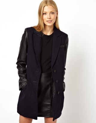 Asos Coat With Contrast Sleeve & Zip Detail - Navy