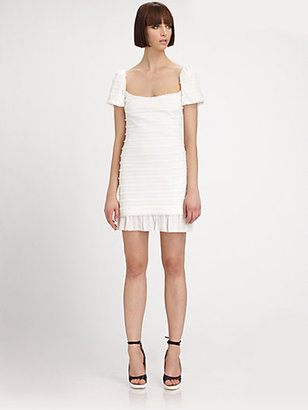 L'Agence Textured Puff Sleeve Dress