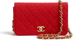 Chanel Red Jersey Quilted Shoulder Bag