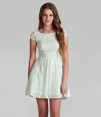 B. Darlin Cap-Sleeve Lace Skater Dress