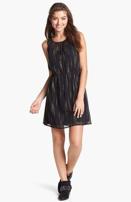 Frenchi Metallic Print Dress (Juniors)