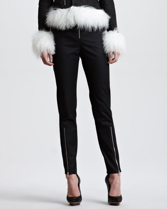 McQ by Alexander McQueen Exposed Zip Crepe Pants, Black