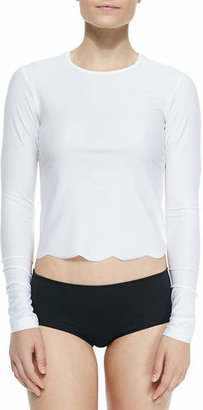 Cover UPF 50 Scallop-Cut Long-Sleeve Swim Tee $110 thestylecure.com