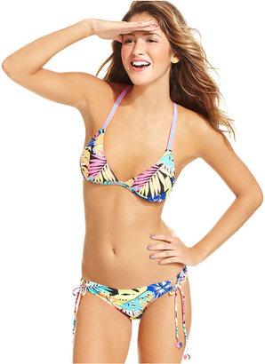 Hobie Swimsuit, Crisscross Tropical-Print Triangle Bikini Top
