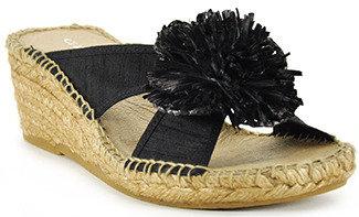 Andre Assous Rumba - Black Silk Espadrille Wedge Sandal