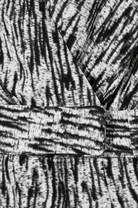 Halston Printed stretch-silk playsuit