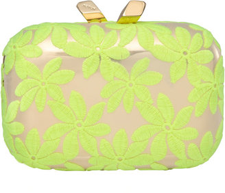 Kotur Margo Floral-Embroidered Minaudiere, Yellow/Gold