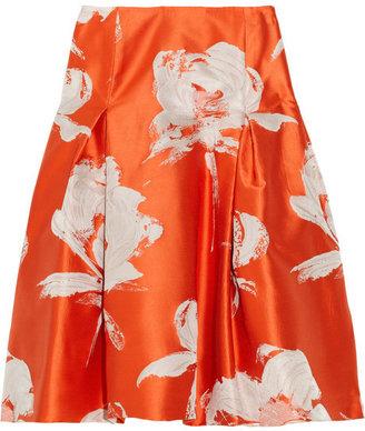 Carolina Herrera Floral taffeta A-line skirt