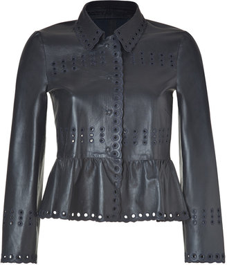 RED Valentino Valentino R.E.D. Midnight Blue Leather Jacket