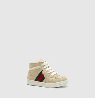 Gucci Toddler High-Top Sneaker With Web Detail