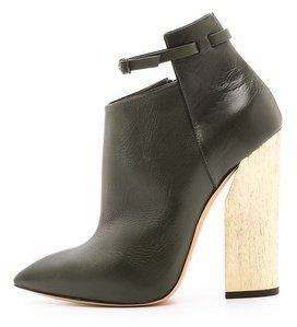 Casadei Leather Booties with Wooden Heel