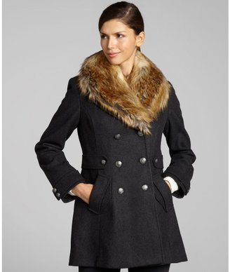 Betsey Johnson grey wool-blend faux fur trimmed double breasted coat