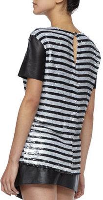 Rachel Zoe Nichols Striped Sequined Top