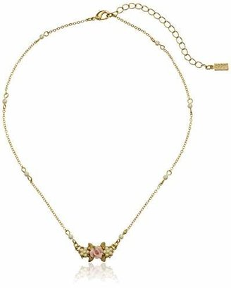 "1928 Jewelry Essentials"" Gold-Tone Simulated Pearl Pink Porcelain Rose Pendant Necklace"