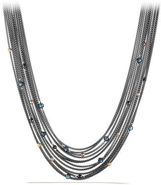 David Yurman Multi-Row Chain Necklace with Hematine and Garnet