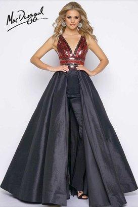 Cassandra Stone - 48463 V Neck Gown In Black / Red