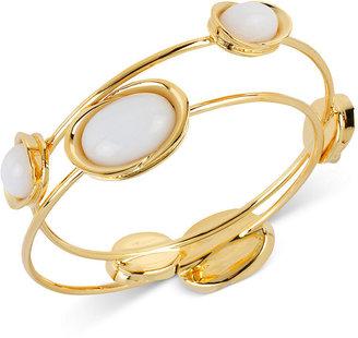 Robert Lee Morris Bracelet Set, Gold-Tone White Oval Bead Bangle Bracelets